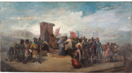 RÉPLICA Lámina La Farsa De Ávila, Enrique IV, Príncipe Álfonso. Antonio Pérez Rubio. Siglo XIX. - Zonder Classificatie