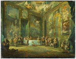 RÉPLICA Lámina Rey Carlos III, Comida En Palacio Real De Madrid. Luis Paret Y Alcázar. Siglo XVIII. - Zonder Classificatie