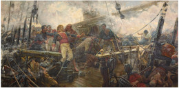 RÉPLICA Lámina Muerte Almirante Churruca En Batalla De Trafalgar, Cádiz. Eugenio Álvarez Dumont. Siglo XIX. - Zonder Classificatie