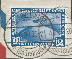 Germany Deutschland,German Empire1930 Zeppelin-The South American Route,2Mk.blue,Oblitéré On The Cut Paper,Value+€400,00 - Gebruikt
