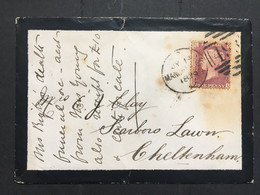 GB Victoria 1879 Mourning Cover Manchester To Cheltenham Tied With 1d Red Plate - Briefe U. Dokumente