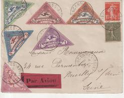 """FRANCE : PA . """" MEETING DE VINCENNES """" . AVEC LES 6 VIGNETTES . 1924 . - Correo Aéreo"""