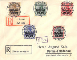 R-Cover Mischfrankatur  Sammlerbeleg Kowno (Kaunas) - Berlin 6.2.16 Postgebiet Ob.Ost - Occupation 1914-18