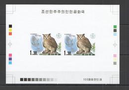 BB097 IMPERFORATE 2001 KOREA FAUNA BIRDS OWLS !!! RARE 100 ONLY PROOF PAIR OF 2 MNH - Uilen