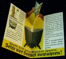 "Düsseldorf Persil 1939 2-s A6 Ausfaltbarer 3D Werbeaufsteller "" HENKO Wasch- U. Bleichsoda Kalk Frisst "" Reklame Werbung - Advertising"