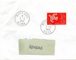 ALGERIE  1962 = BUGEAUD / BONE = CACHET ROND A7 Sur Timbre Français EUROPA - Brieven En Documenten