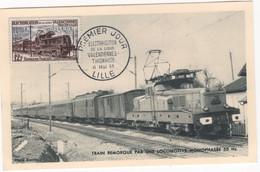 LIGNE VALENCIENNES-THIONVILLE (Yvert N° 1024) Carte Maximum 1er Jour / Lille/ 1955. - 1950-59