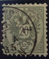 Österreich - Autriche - 1883 - Chiffre Noir / Zwart Cijfer - Dent. 9 1/2 à 10 -  N° 44 - 20 K -  Grijs/gris - Gestempeld - Used Stamps