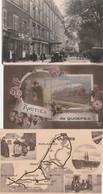 3 CPA:QUIMPER (29) TRAIN AMITIÉS,3 VUES CARTE GÉOGRAPHIQUE BLASON,VOITURES RUE DU PARC  HÔTEL - Quimper