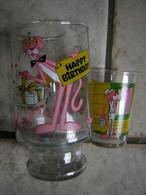 Lot Carafe Vase Et Verre La Panthere Rose Happy Birthday Rare 1984 United Artist - Carafes