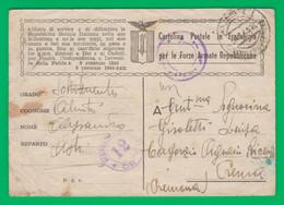 R. S. I.  Cartolina Postale In Franchigia Per Le Forze Armate. Fascismo. Fascista. Censura 12. Cremona. - Marcophilia