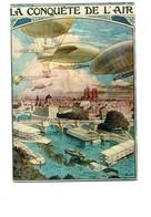 Cpm - La Conquête De L'AIR - Illustration Ballon Dirigeable Avion Montgolfière Bateau - NOS TRANSPORTS 17 - Zeppeline