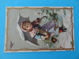 Chromo Au Coin De Rue Arragon Brunet Chalon / Saone Enfant Dans La Neige - Altri