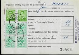 Doc.  Timbres Carnets  Obl. GENT  - 1 A 1 -  DOUANE  ( 9000 ) Du 03/12/73 - 1953-1972 Glasses