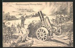 Künstler-AK Namur, Feldskizze, Soldaten Mit Kanone Bei Der Beschiessung Der Festung - War 1914-18