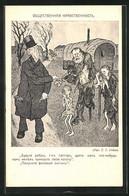 Künstler-AK Simplicissimus, Sign. T. T. Heine: Reicher Gibt Bettelnden Armen Ein Blatt - Altre Illustrazioni