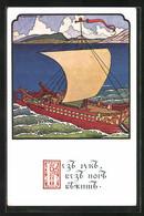 Künstler-AK Sign. Bilibin: Segelschiff Sticht In See - Altre Illustrazioni