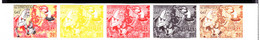 LAOS (1957) Temple Painting. Horse. Mythological Figures. Trial Color Proofs In Strip Of 5 With Multicolor . Scott C30 - Laos