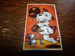 BC5-2-55 Carte Fantaisie Chien  Humanisé   Yeux Mobiles  Signé Michaélis Boxe Souris Boxeur Punching Ball - Non Classificati