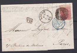 N° 12 Margé BDF / Lettre De LIEGE Vers PARIS 24 Janv 1863  (lac ) - 1858-1862 Medaillen (9/12)