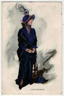 Illustrateurs  Signés  //   Femme à La Mode Avec Chapeau - Altre Illustrazioni