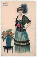 Illustrateurs  Signés  //    Femme à La Mode En Grande Robe Et Chapeau - Altre Illustrazioni