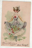Illustrateurs  Non Signés  //    Femme à La Mode En Grande Robe Avec Chapeau Et Fleurs - 1900-1949