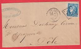 N°46B GC 113 ANNONAY ARDECHE POUR DOLE JURA DEVANT DE LETTRE FRONT COVER - 1849-1876: Klassieke Periode