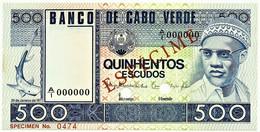 CAPE VERDE - 500 ESCUDOS - 20.01.1977 - Pick 55.s1 - Unc. - ESPÉCIME In RED - Cape Verde