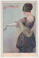 Illustrateurs  Signés  //    Femme à La Mode En Grande Robe Avec Chapeau - Altre Illustrazioni