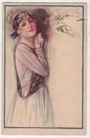 Illustrateurs  Signés  // Mauzan //    Femme à La Mode En Grande Robe Avec Chapeau - Mauzan, L.A.