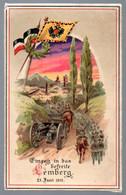 Alte Postkarte, Militär, Halt Gegen Das Licht -- Einzug In Das Befreite Lemberg 23.6.1915, Lwiw, Feldpost 1917 - War 1914-18