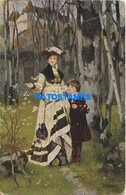 163838 ART ARTE SIGNED NICZKY WOMAN AND BOY LANDSCAPE POSTAL POSTCARD - Non Classificati