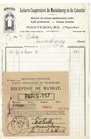FACTURE-COURRIER- LETTRE : Laiterie Coopérative De Montebourg Et Du Corentin , Année 1936 . - 1900 – 1949