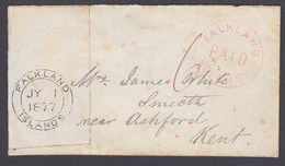 """Falkland Islands SG FR2 - """"Paid"""" Cancel On Cover To Kent, Only 23 Recorded - Falkland Islands"""