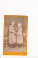 CDV Photo Enfants Fiiles 2 Soeurs Nom De Famille PERROT ( Photographe DESCLOZ à BOURGOIN 38 ISERE  ) - Anciennes (Av. 1900)