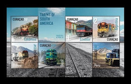 Curacao 2021 Mih. 591/96 (Bl.40) Trains Of South America MNH ** - Curacao, Netherlands Antilles, Aruba