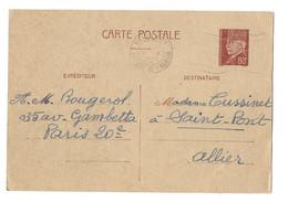 CARTE ENTIER POSTAL PETAIN FLAMME AVENUE DE WAGRAM PARIS POUR SAINT PONT ALLIER, ECRIT INTERESSANT DE 1941, A VOIR - Lettres & Documents