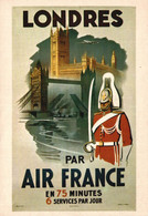 PUBLICITE    CPM    Air France Londres Illustrateur Falencei 1948 - Advertising