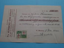 Reçu 1946 > Drukkerij Fr. VERBEKE-VAN KRAAY St. MARIABURG (Kapellen) ( Zie / Voir SCAN ) - Printing & Stationeries