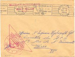 POSTE NAVALE – 3 CACHETS – MARINE-BORDEAUX / ÉTAT-MAJOR + OFFICIEL Pour Le Secrétariat D'État… + Avec Ancre Du 30-7-1955 - Naval Post