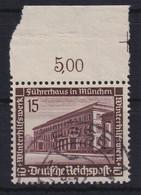 Deutsches Reich 1936 Führerbau München Mi.-Nr. 640 Oberrandstück Gestempelt - Zonder Classificatie