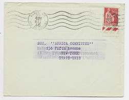 PAIX 50C BDF SEUL  LETTRE PARIS 29 MAI 1940 POUR USA AU TARIF IMPRIME - 1932-39 Vrede