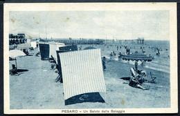 CV3731 PESARO (PU) Un Saluto Dalla Spiaggia, FP, Viaggiata 1931 Per Cremona, Francobollo Asportato, Buone Condizioni - Pesaro