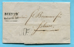 Faltbrief Von Bienne Nach Solothurn 1856 - ...-1845 Prephilately