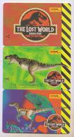 Singapore Old Phonecard Singtel Jurassic Park The Lost World  Dinosaur Unused 3 Cards - Altri
