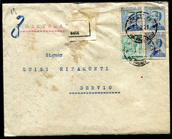 Z2728 ITALIA REGNO 1921 PERFIN Raccomandata Affrancata Con VEIII 25 C. 3 Valori + 5 C., Tutti Perforati Con R Speculare, - Marcophilie