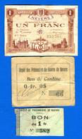 Nevers  3  Bons  1914 /1918 - Buoni & Necessità