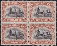 Belgie  .  OBP    .   142   Blok 4 Zegels    .   **  .    Postfris   . / .   Neuf SANS Charnière - 1915-1920 Alberto I