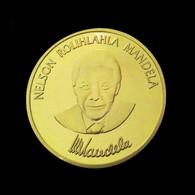 1 Pièce Plaquée OR ( GOLD Plated Coin ) - Nelson Mandela Prix Nobel De La Paix - Altre Monete